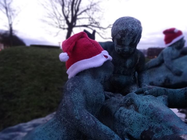 close up santa hats at Nilen